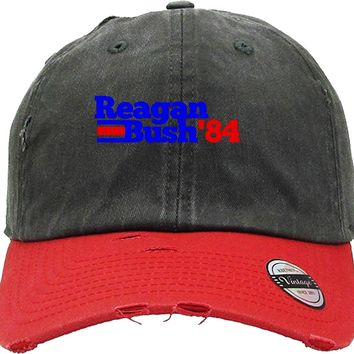 reagan bush 84 Distressed Baseball Hat