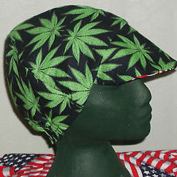 Marijuana Leaf,Pot: Red's American Made Welding Hat, Biker 4 Working Men $7.50