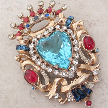 Coro Craft Brooch Heart Crown Shield Rhinestone Sterling Vermeil Vintage 052516BT