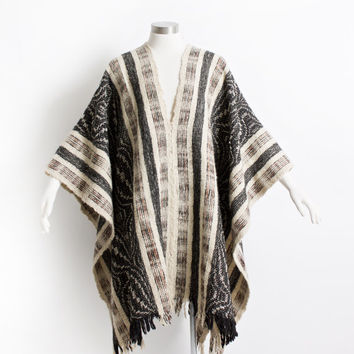 Vintage 60s Poncho - Wool Striped Ivory Grey Boho Hippie Coat 1970s - OSFM