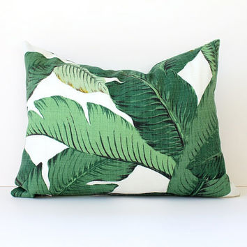 Green Floral Decorative Designer Lumbar Pillow Cover 12x16 Accent Cushion Tropical Palm fronds Leaves nature jungle modern martinique Resort