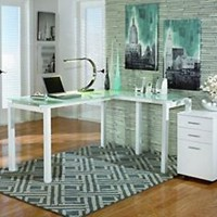"Signature Design by Ashley H410-24 Baraga Collection Home Office Desk, 61"", Whit"
