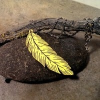 Yellow feather necklace painted wood jewelry