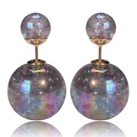Mise en Gum Tee Style Tribal Earrings  - Galaxy Silver