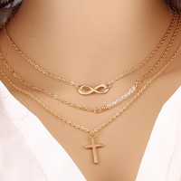 2017 New Lovely Chic Infinity Crystal Cross 3 layer Long gold color Chain Pendant Fashion Necklaces For Women Jewelry Gift