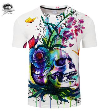 Men 3D Skull T-shirts Summer Tops Male T shirts Brand Short Sleeve Printed Tees Funny Tshirts