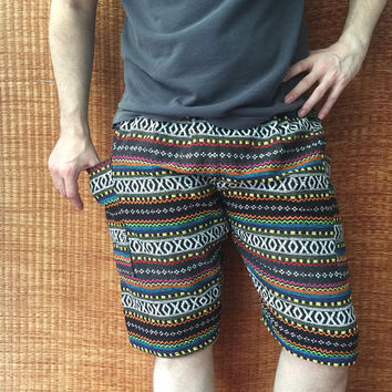 Ikat Tribal Woven Shorts Hippie festival Bohemian for Men women Burning man Aztec Boho Beach Summer Gift Vegan Hipster Unique Southwestern