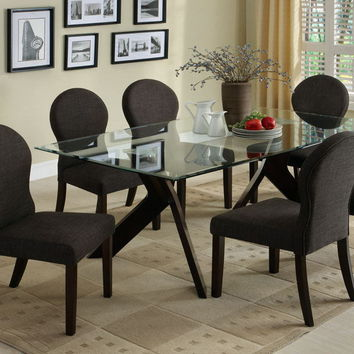 Furniture of america CM3425T-7PC 7 pc grandview i espresso finish wood beveled glass top dining table set
