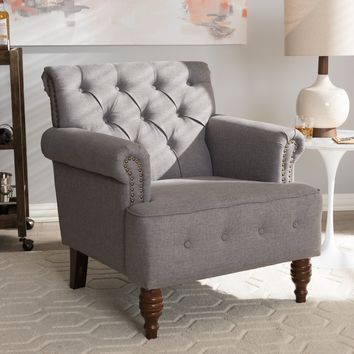Baxton Studio Christa Modern and Contemporary Light Grey Fabric Upholstered Walnut Wood Button-Tufted Armchair Set of 1