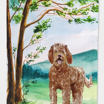 Under the Tree Labradoodle Flag Canvas House Size CK2568CHF