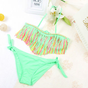 Kids bikini 2017 girls swimwear bathing sets kid swimming suit tassel swimsuit children bikinis baby set new biquini infantil