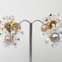 Glitzy AB Crystal Earrings Dangles Clip Earrings Wedding Special Occasion