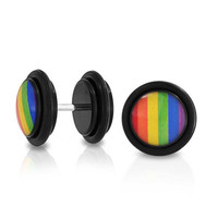 Bling Jewelry Epoxy Dome Rainbow Gay Pride Fake Cheater Plugs Earrings Black 14G Stainless Steel