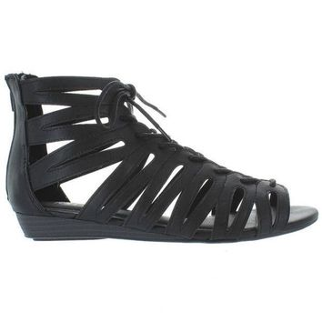 Mia Salena   Black Caged Wedge Sandal