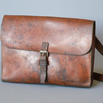 SWISS ARMY BAG 1966, Swiss Military Post or Letter Bag, Brown Saddle Leather Bag, Crossover Messenger Bag from Switzerland, iPad Case Bag