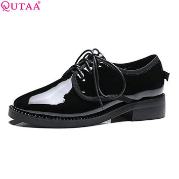 Women Shoes Low Heel PU Leather Lace Up  Black Elegant Round Toe