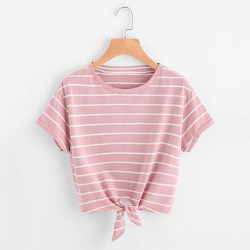 Pink Knotted Striped Shirt