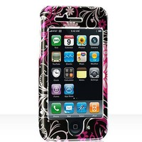 Premium Designer Hard Crystal Snap-on Case for Apple iPhone 3G, 3GS 3G-S - Cool Pink Butterfly Print