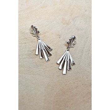 Vintage Abstract  Silver Dangle Earrings