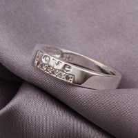LOVE Glossy Silver Ring