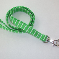 Lanyard / Key Leash ID Badge Holder - NEW THINNER design - Green White stripes lines  - Lobster clasp and key ring