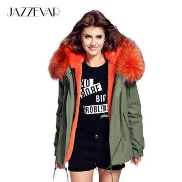JAZZEVAR woman army green Large raccoon fur collar hooded coat parkas outwear 2 in 1 detachable lining winter jacket brand style