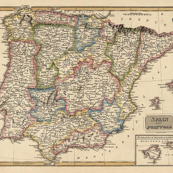 Antique Map of Spain and Portugal (c1817) by Fielding Lucas - Archival Reproduction