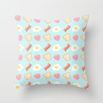 Cute Breakfast Throw Pillow by Adorkible