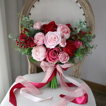 Beautiful Silk & Real Touch Pink & Red Rose Shabby Chic Vintage Style Wedding Bouquet