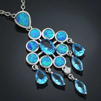 Blue Opal and Topaz Drop Necklace
