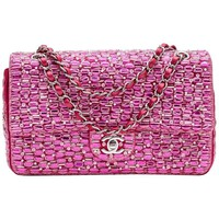 Chanel Iridescent Fuchsia Smooth Lambskin and Embroidered Double Flap Bag