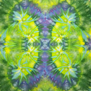 trippy tie dye tapestry green blue purple wall hanging