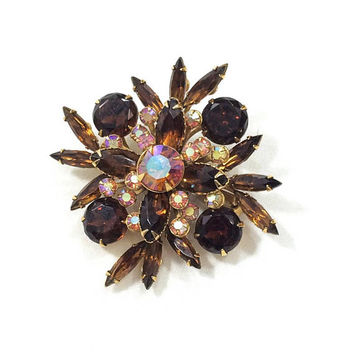 Beau Jewels Brooch, Aurora Borealis & Root Beer Crystal Rhinestones, Marquis Chaton Stones, Goldtone, 1950s Vintage Statement Jewelry