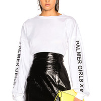 Palmer Girls x Miss Sixty Long Sleeve Crop Tee in White | FWRD
