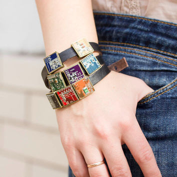 Wrap bracelet - leather bracelet and geeky buttons - circuit board jewelry - square