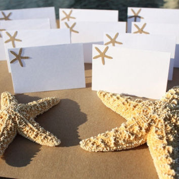 Starfish Place Cards Beach Wedding by RoyalRegards on Etsy