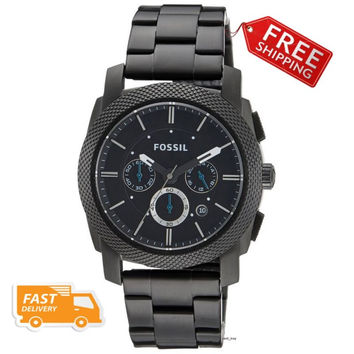 Fossil Men's Machine Black Stainless Steel Watch