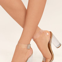 Steve Madden Clearer Clear Lucite Heels