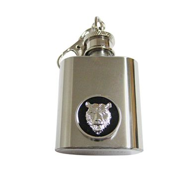 Rounded Bear Pendant 1 Oz. Stainless Steel Key Chain Flask