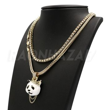 Hip Hop Iced Out DESIGNER PANDA Pendant W/ Franco Chain / Tennis Choker Chain.