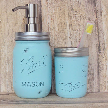 Pastel Blue Mason Jar Soap Dispenser and Storage Jar, Shabby Chic Mason Jar Bathroom Decor, Mason Jar Toothbrush Holder, Cottage Chic Decor