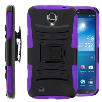 Galaxy Mega 6.3 Case, Rugged Hybrid Triple Layer Holster Shell Combo Case [Kickstand and Clip] for Samsung Galaxy Mega 6.3 - Purple