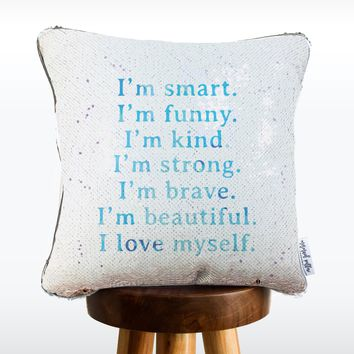CONFIDENCE Mermaid Pillow w/ Silver & White Sequins (2019 edition)