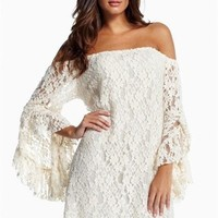 Cream Lace Off-The-Shoulder long dresses with sleeves ladies wear ladies' dress summer dress USASTC