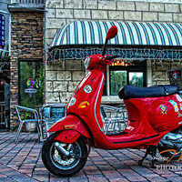 "Red Moped. Modern Unique High Definition 16""x24"" fine art photo landscape print on aluminum"