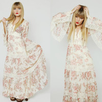 Vintage 70s FLORAL Maxi Dress LACE Tiered BELL Sleeve Oversized Flower Print Boho Chic Wedding Dress