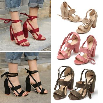Womens Summer Sexy Strappy Peep Toe Ankle Strap Lace Up High Heels Sandal Shoes