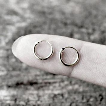 .925 Sterling Silver Hoop Earrings Kids Baby Childs Tiny Continuous