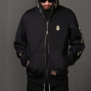 Mens Neoprene Gold embroidery Shark Full Zip Up Hoodie at Fabrixquare
