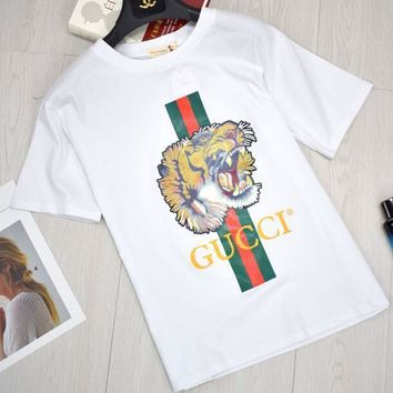 GUCCI Women Tiger Letter Print Cotton Loose T-Shirt Top Black Spring Summer